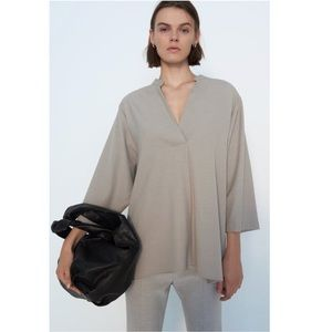 NWT: ZARA OVERSIZED TUNIC WITH PLEAT FEATURE